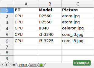 XLS example with 'Pictures' column